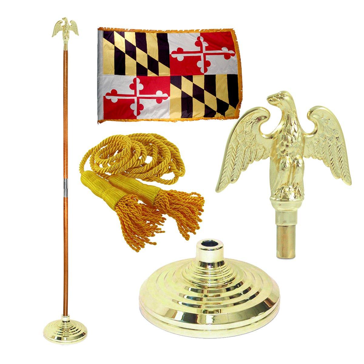 Maryland 3ft x 5ft Flag, Flagpole, Base, and Tassel (Metal Eagle, 7 Ft Oak Pole)