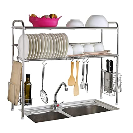 Superbe Amazon.com: Abaft 304 Stainless Steel Over Sink Drying Rack Dish Drainer  Racku0026Kitchen Organizer (double Groove Double Layer): Kitchen U0026 Dining
