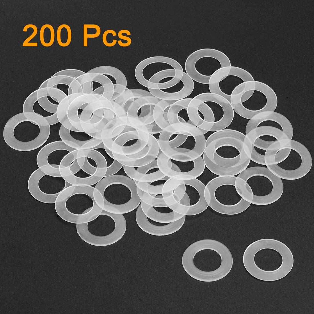 uxcell Nylon Flat Washers for M6 Screw Bolt 18mm OD 0.9mm Thick Clear 200PCS