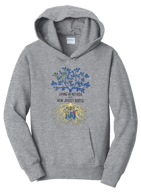 Tenacitee Girls Living in Nevada with New Jersey Roots Hooded Sweatshirt