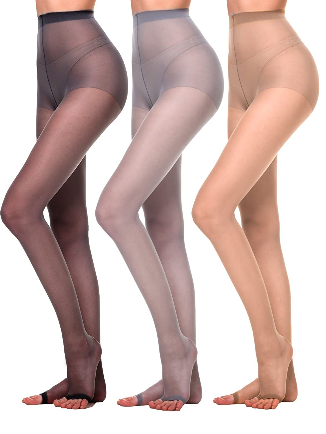 Amoretu Womens 3 Pairs Pantyhose Ultra Sheer Tights Toeless for cheap