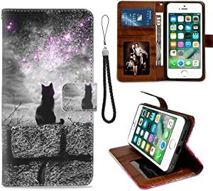 iPhone 7 Plus Wallet Case, iPhone 8 Plus Phone Wallet Case Black Cat TPU Leather Flip Cover with Card Slot Wallet Case for iPhone 7/8 Plus