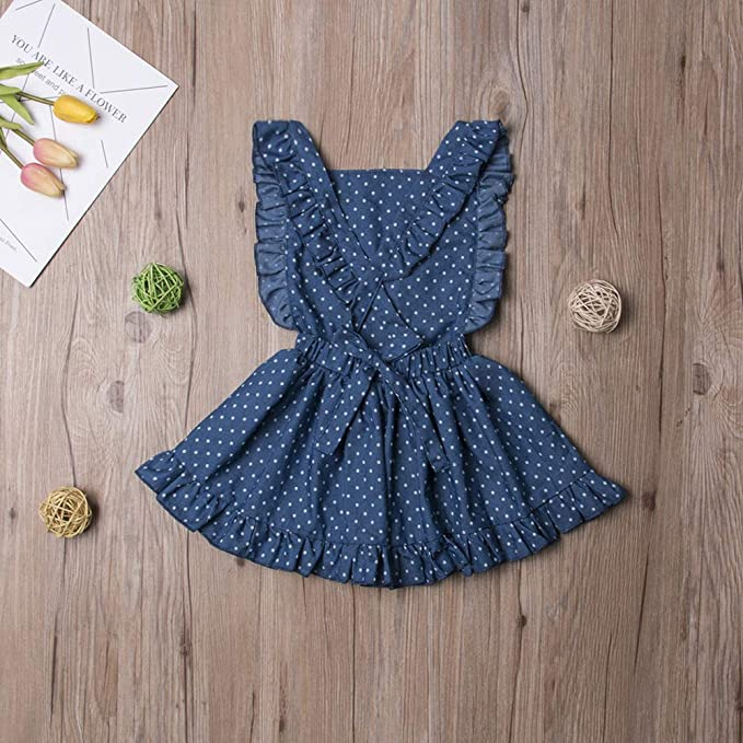 Douhoow Toddler Baby Girl Ruffle Skirt Dress Jumpsuit Overall Cotton Outfits