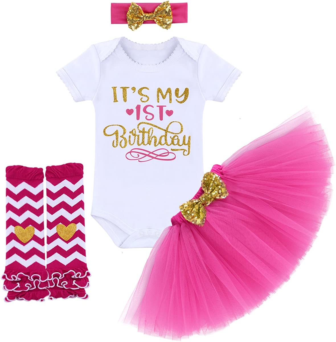 It's My 1st/2nd Birthday Outfit Baby Girl Romper Tutu Skirt Headband Leg Warmers 4pcs Set