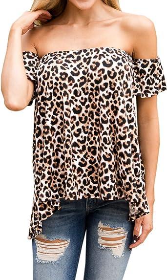 Mujeres Tops Moda Cuello Barco Manga Corta Camisetas Blusa ...