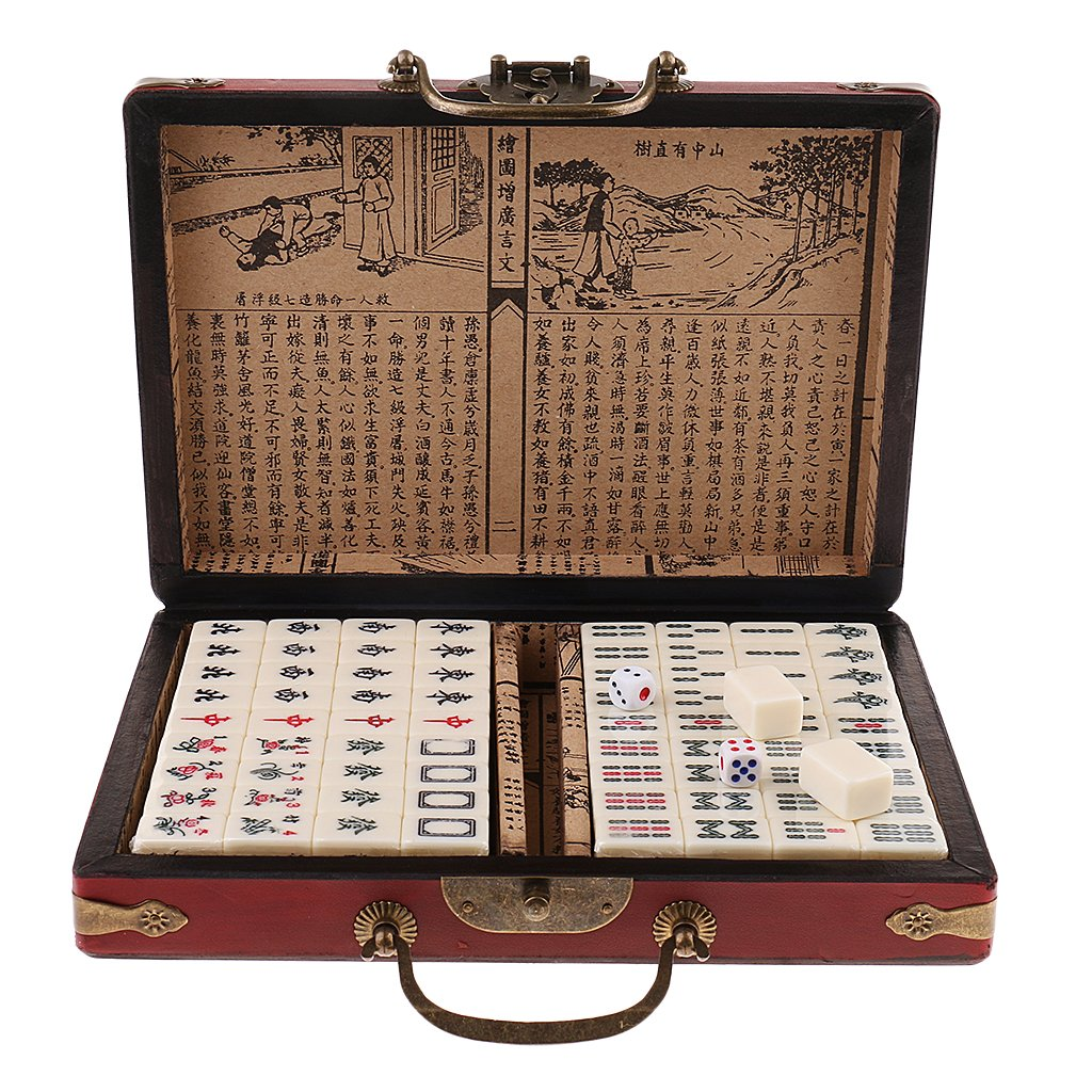 Baosity Traditioanl Board Game Chinese Antique Mahjong 144 Miniature in 23x16.2x4.5cm Wooden Box