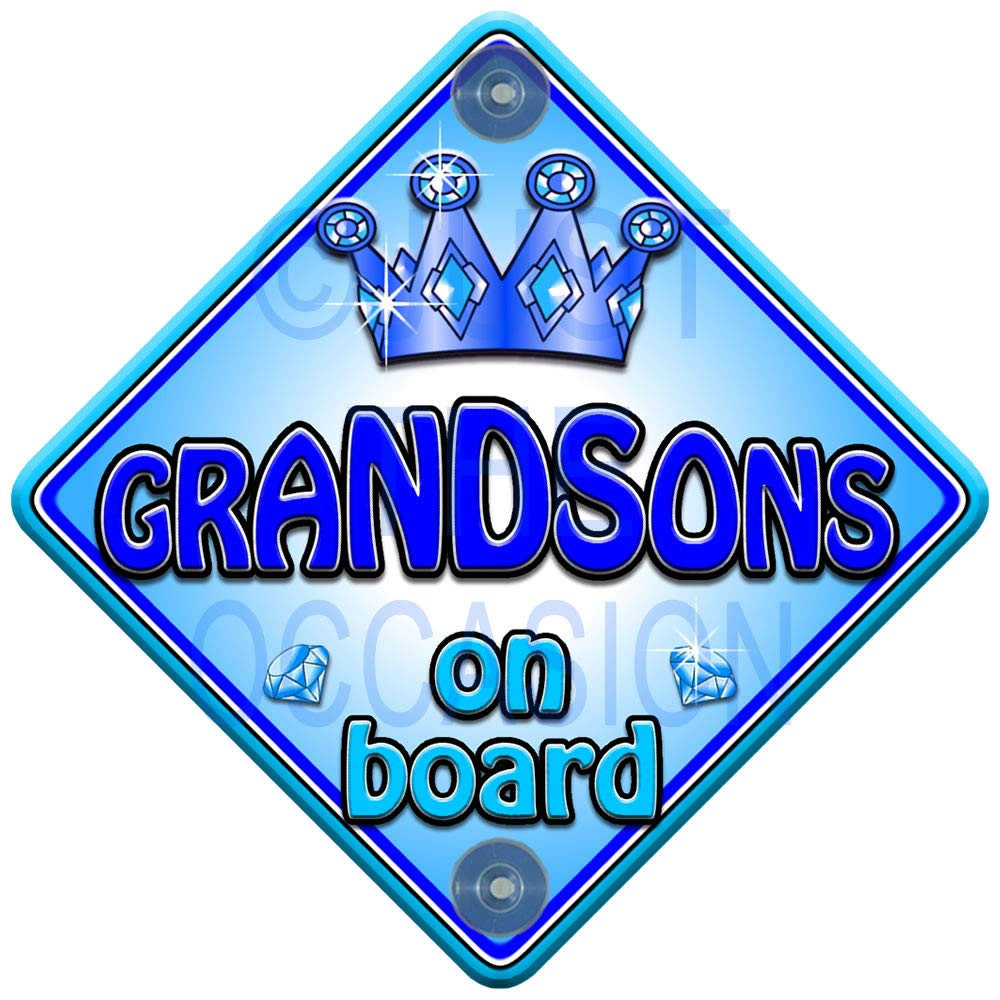 Trophy Non Personalised Novelty Baby on Board car Window Sign Grandsons on Board