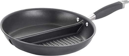 Anolon Advanced Hard-Anodized Nonstick 12.5-Inch Divided Grill and Griddle Skillet Gray