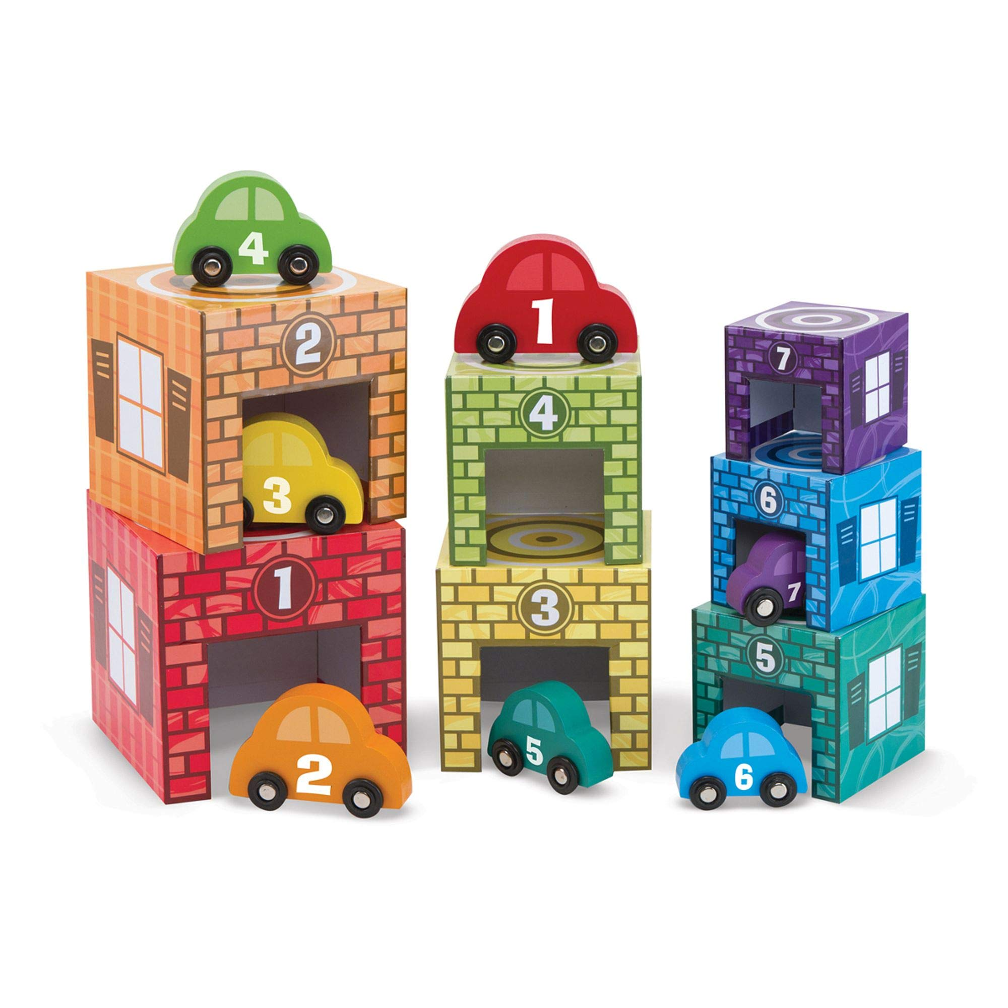 Melissa & Doug Nesting and Sorting Garages and Cars with 7 Graduated Garages and 7 Stackable Wooden Cars