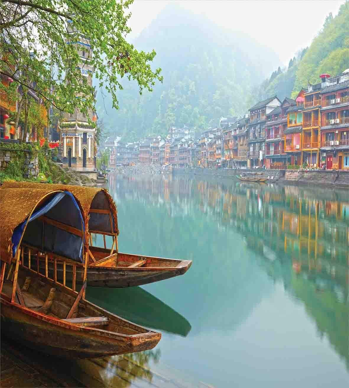 Full Size Asian 3 PCS Duvet Cover Set, Old Chinese Suburbs Lake Canal with Wood Boats Foggy Asian Eastern Rural Scene Art, Bedding Set Bedspread for Children/Teens/Adults/Kids, Multicolor by Anzona (Image #2)