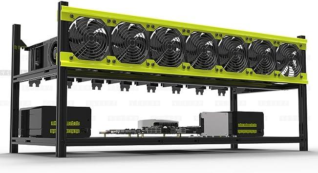 8 GPU Mining Rig Aluminum Stackable Case Open Air Frame ETH//ZEC//Bitcoin