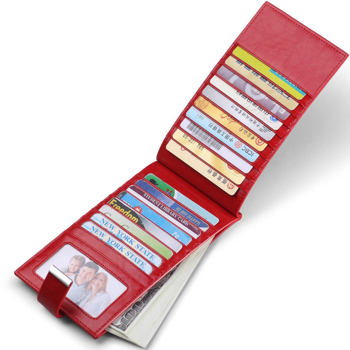 JEEBURYEE Womens Wallet RFID Blocking Multi Credit Card Holder Genuine Leather Long Bifold Clutch Travel Purse with ID Window Red