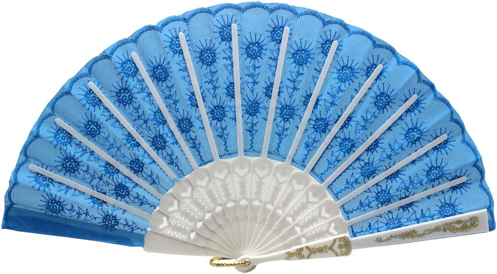 Newstarfactory Folding Fans for Women,Handmade Elegant Colorful Embroidered Flower Peacock Pattern Sequin Fabric Folding Fans Blue