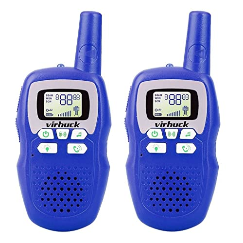 Virhuck 2-packed Classic Walkie Talkies for Kids with Flashlight, 3CH, 3KM Range, with LED Light Indicator, Long Distance Clear Voice - Blue