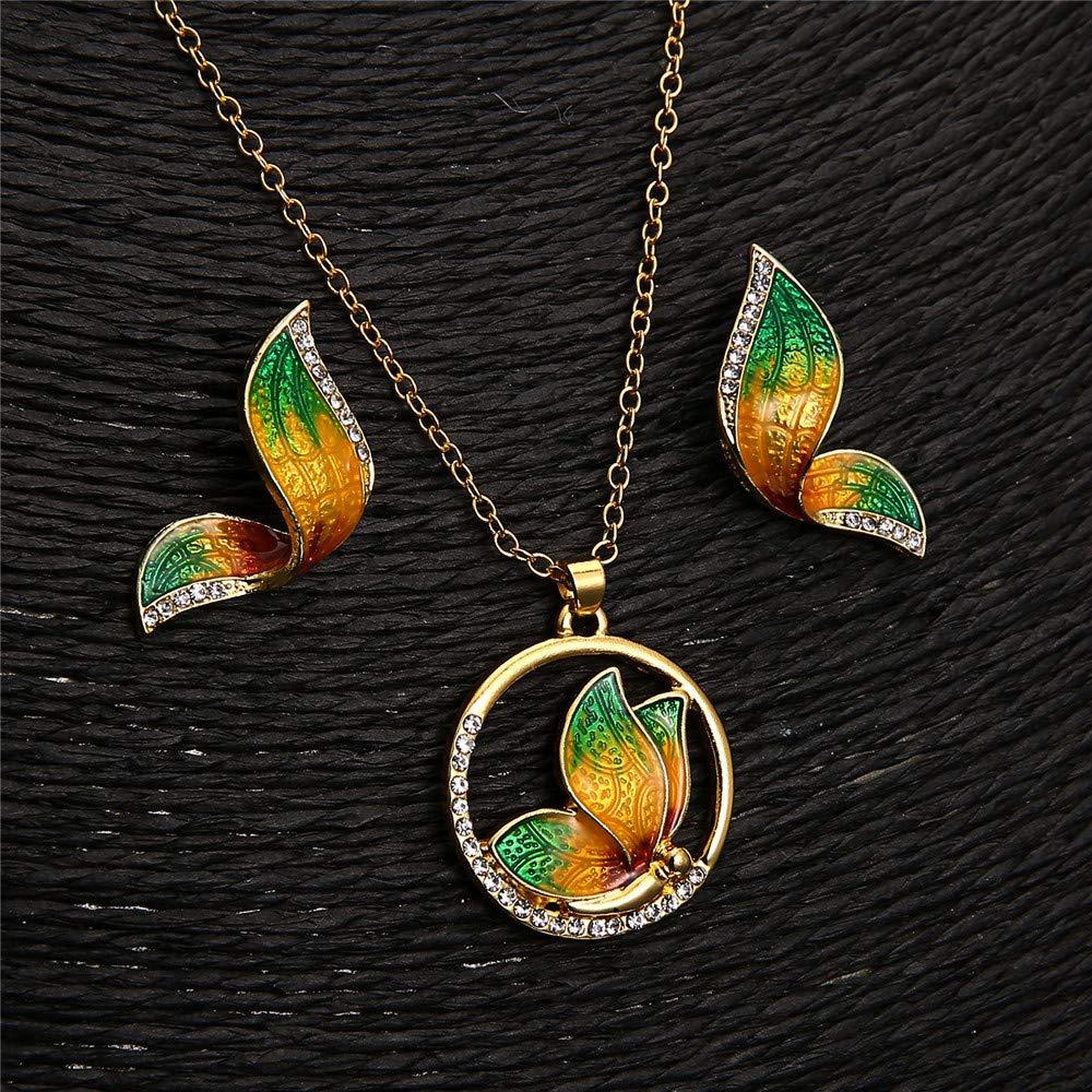 vert de haute qualit/é Ogquaton Animal papillon collier boucles doreilles ensembles de bijoux /émail collier boucles doreilles cadeau de mariage