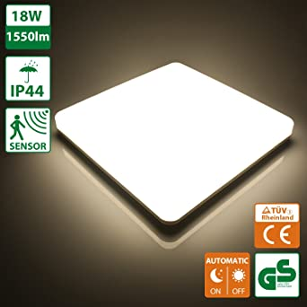 Oeegoo 18W Led Plafonniers Avec Le Dtecteur Mouvement Intrieure Lumire Tanche IP44 1550LM Naturel Blanc