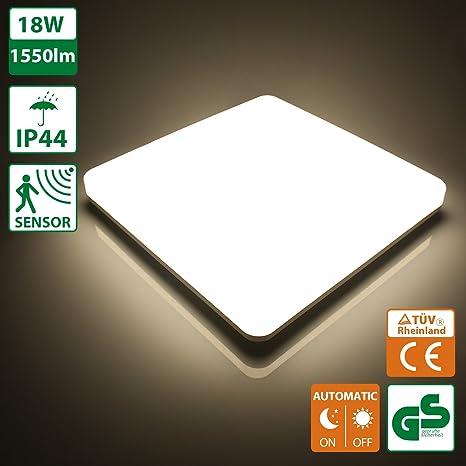 Oeegoo 18W Lamparas de techo LED IP44 Plafon led de techo 1550LM 4000K Sensor de Movimiento