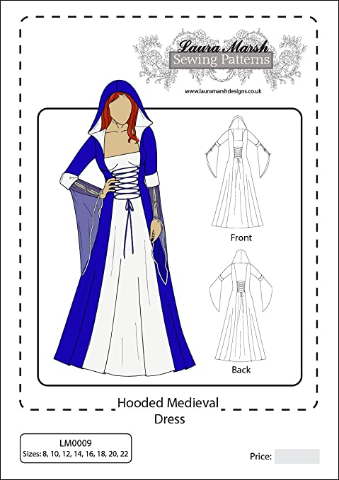 Hooded Medieval Dress Sewing Pattern, Sizes 8-22, LM0009, Laura ...