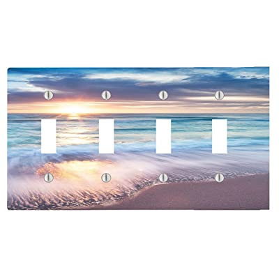 Trendy Accessories Beautiful Sunset at The Sea Pattern Design Print Image 4 Toggle Electrical Switch Wall Plate (8.38 x 4.69in): Home & Kitchen