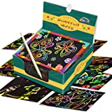 ZMLM Rainbow Scratch Mini Art Notes - 125 Magic Scratch Note Off Paper Pads Cards Sheets for Kids Black Scratch Note Arts Crafts DIY Party Favor Supplies Kit Birthday Game Toy Gifts Box for Girls Boys