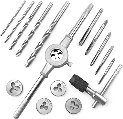 Cutting with Drill Bit and Wrenches Durable Bearing Steel for Threading Azuno 14-pcs SAE Tap and Die Set