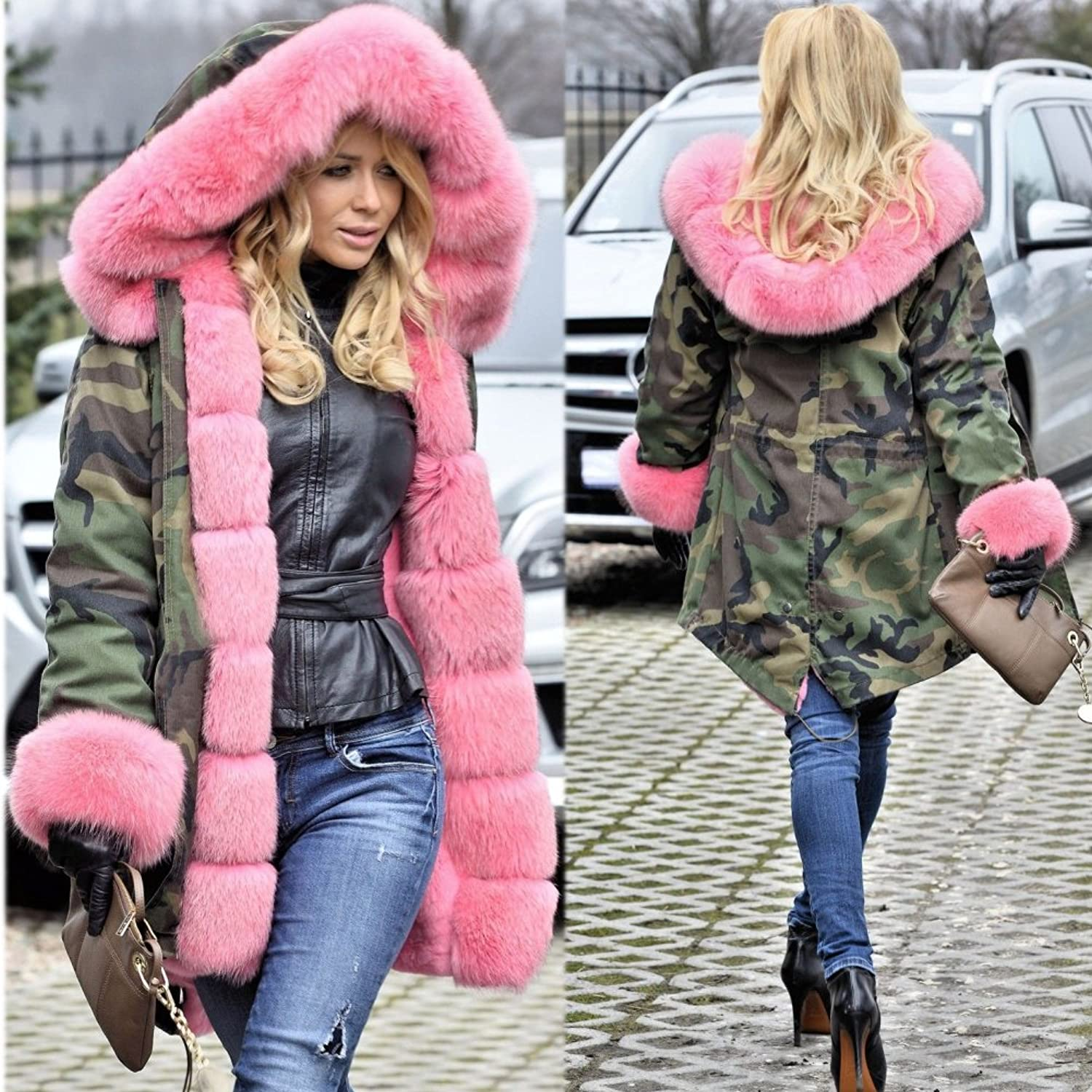Roiii Rose Pink Quilted Padded Faux Fur Hooded Warm Thick Womens ...
