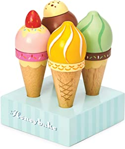 Le Toy Van - Educational Wooden Toy Honeybake Ice Creams Pretend Play Kids Playset | Goregous Play Food Toy Set | 5 Pieces - Great Gifts for A Boy Or Girl - Best for 2, 3, 4 and 5 Year Olds