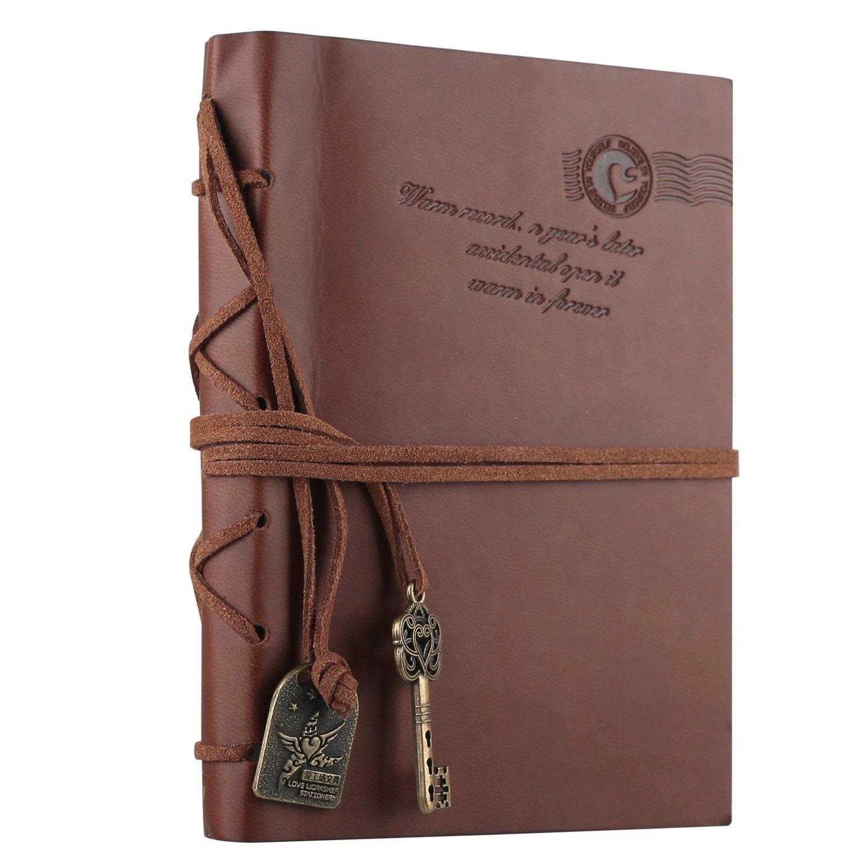 Leather Notebook, Journal Reisetagebuch, GoodYH Vintage Retro Leather Cover Notebook Klassische Vintage-Stil PU Cover Kaffee HYCGYH