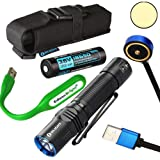Olight M2R Warrior USB rechargeable 1500 Lumen CREE LED Flashlight EDC with 18650 rechargeable battery, magnetic charging cable with EdisonBright USB powered reading light bundle