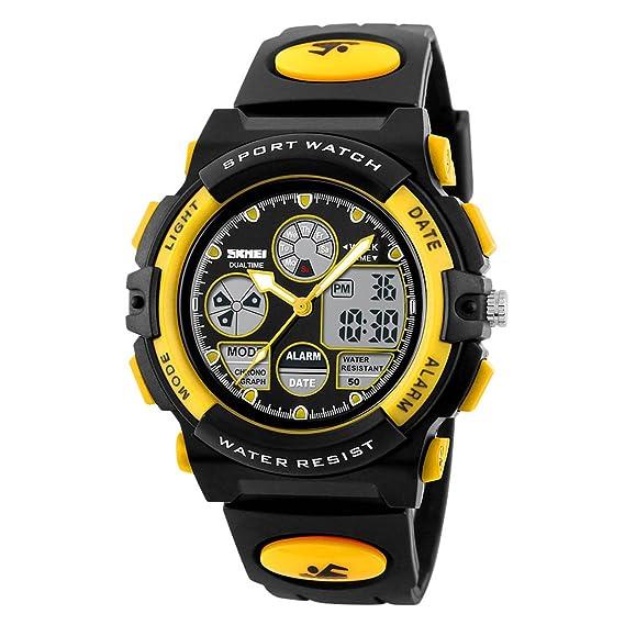 Skmei Niños Deportes reloj digital resistente al agua Dual time reloj de pulsera para niños niñas: Amazon.es: Relojes