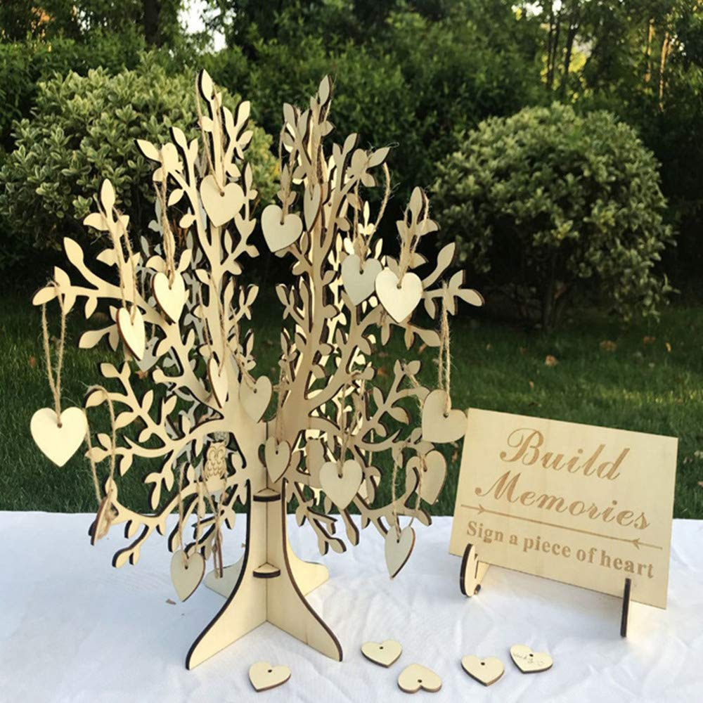 Unique Wedding Guest Book Alternative, Rustic Guest Registry with 50pcs Wooden Hearts, Wood Tree Frame Drop Box Guest Books with Stand (15.4'' x 15'' x 15'')