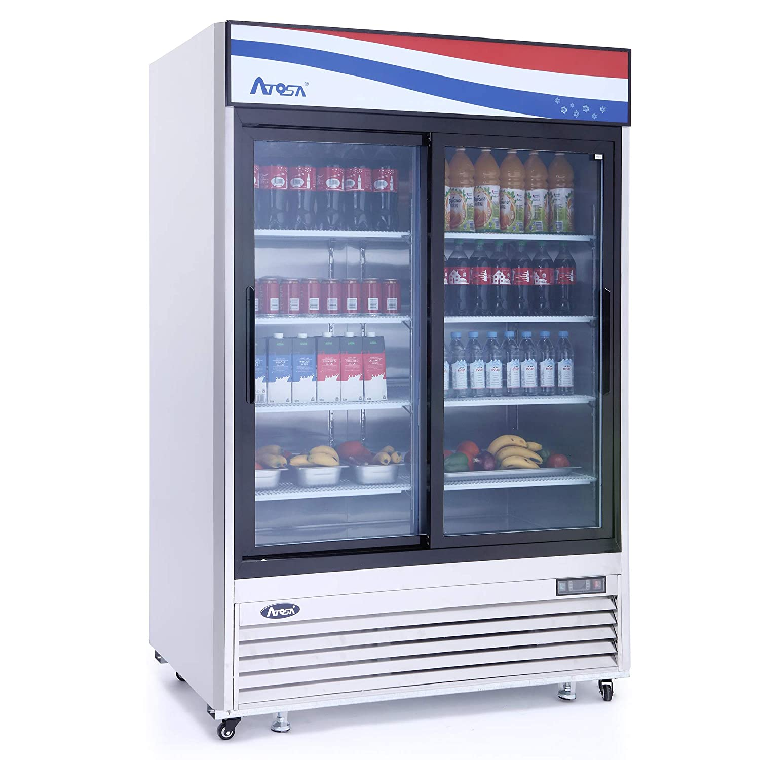Glass Door Refrigerator, Bottom Mount Stainless Steel 2 Sliding Doors with LED Lighting, ATOSA MCF8709
