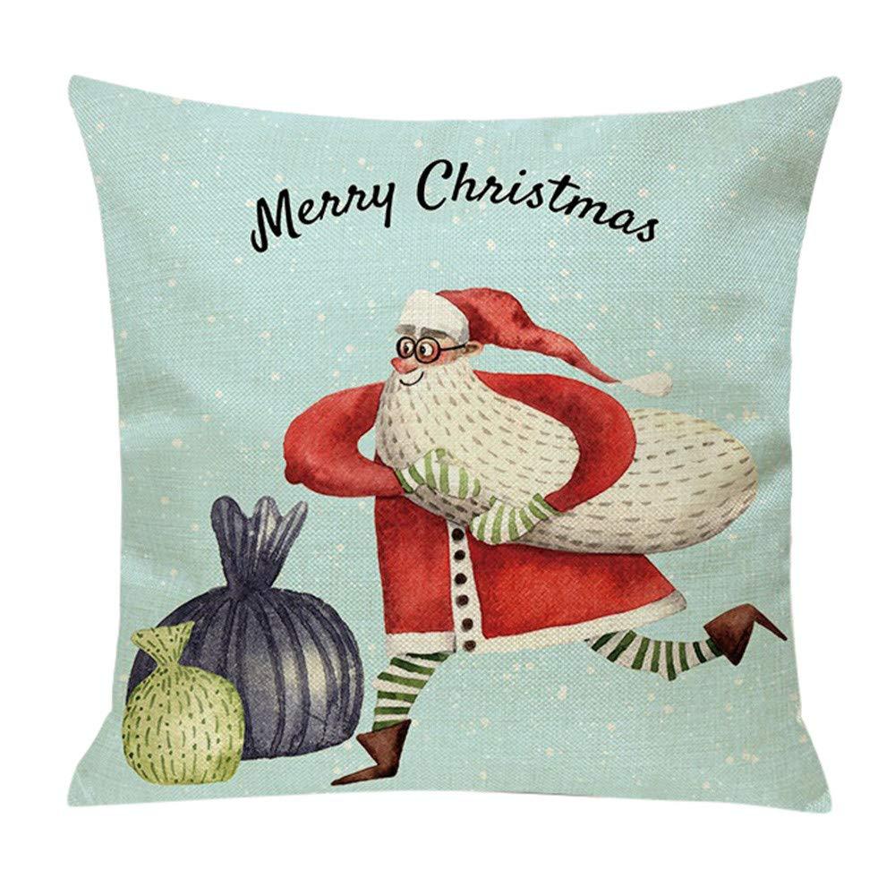 Leewos  Christmas Cushion Case,Home Party Decor Xmas Santa Gift Pattern Pillowslip Festival Pillow Case 18''x18'' (18''x18'', D)
