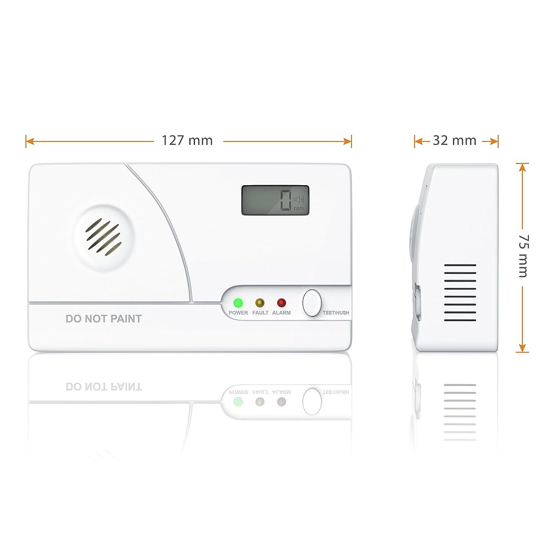 Brandson - Co sistema de alarma sistema de alerta | | Co Detector de monóxido de carbono con alarma de gas con sensor electroquímico | instantánea | | 85 db ...