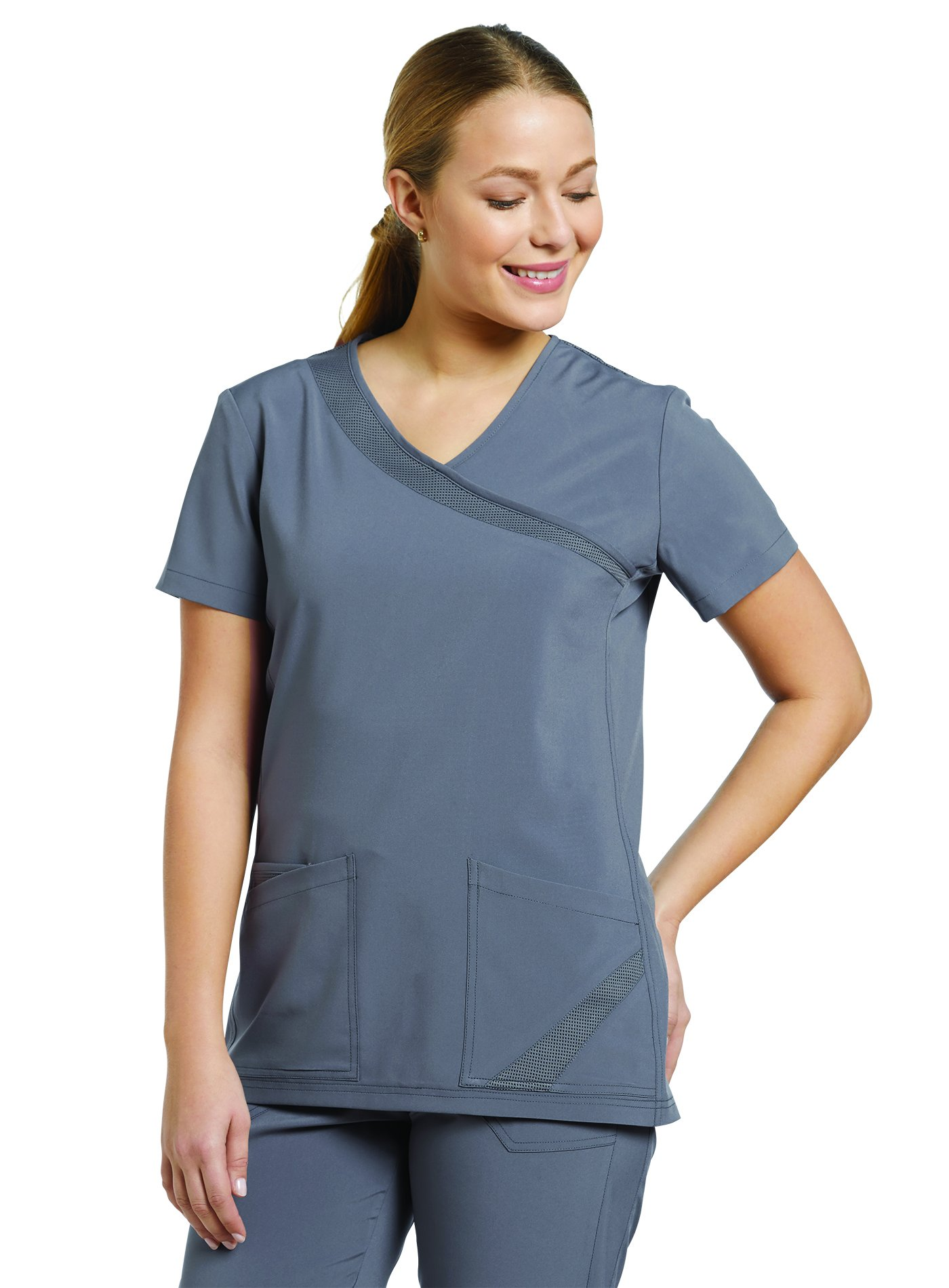 Fit by White Cross Women's Mock Wrap Solid Scrub Top X-Small Pewter
