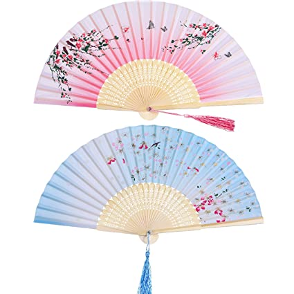 ee6946689 2 Pieces Folding Fans Handheld Fans Bamboo Fans with Tassel Women's  Hollowed Bamboo Hand Holding Fans