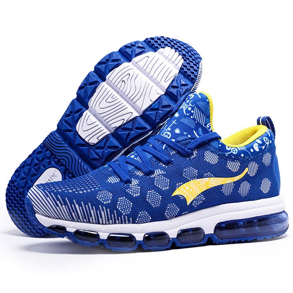 ONEMIX Mens Mesh Sneakers Air Cushion Running Walking Traling Shoes Blue Yellow Size 7.0 US