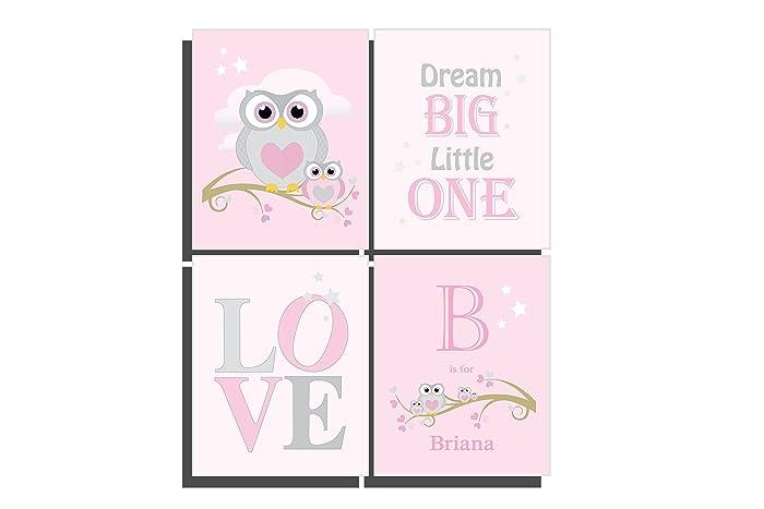 Baby girls pink nursery prints customize baby girls room dcor owl baby girls pink nursery prints customize baby girls room dcor owl wall art set of 4 negle Choice Image