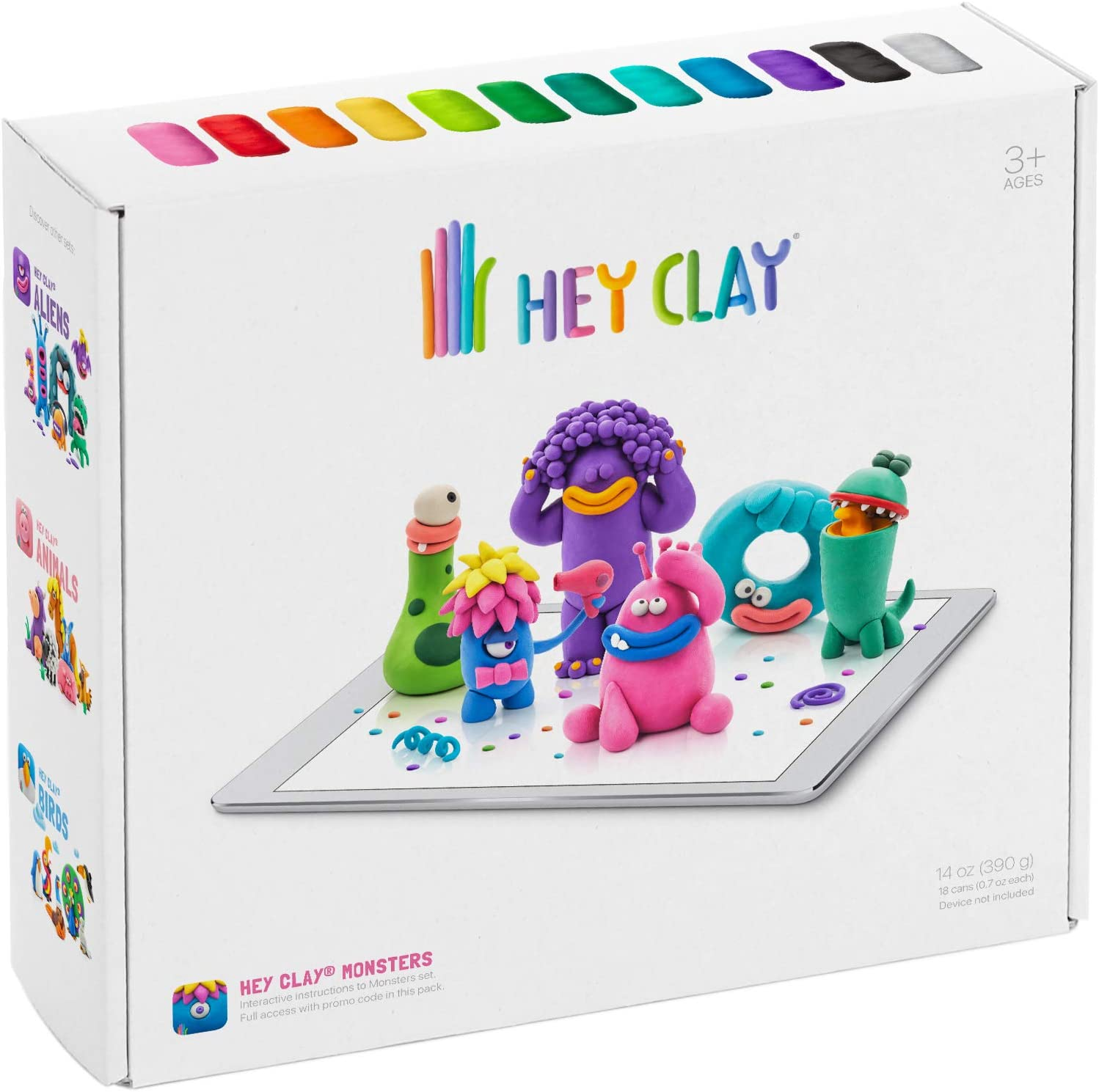 Amazon Com Hey Clay Monsters Colorful Kids Modeling Air Dry Clay 18 Cans With Fun Interactive App Toys Games
