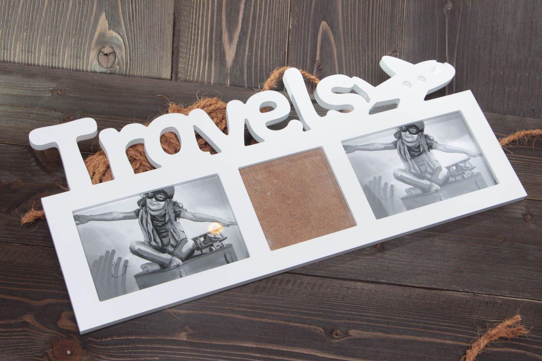 Marco para fotos hecho a mano de tablero de fibra pintado para 3 fotos original: Amazon.es: Hogar