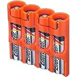 Storacell by Powerpax SlimLine AAA Battery Caddy, Orange, Holds 4 Batteries