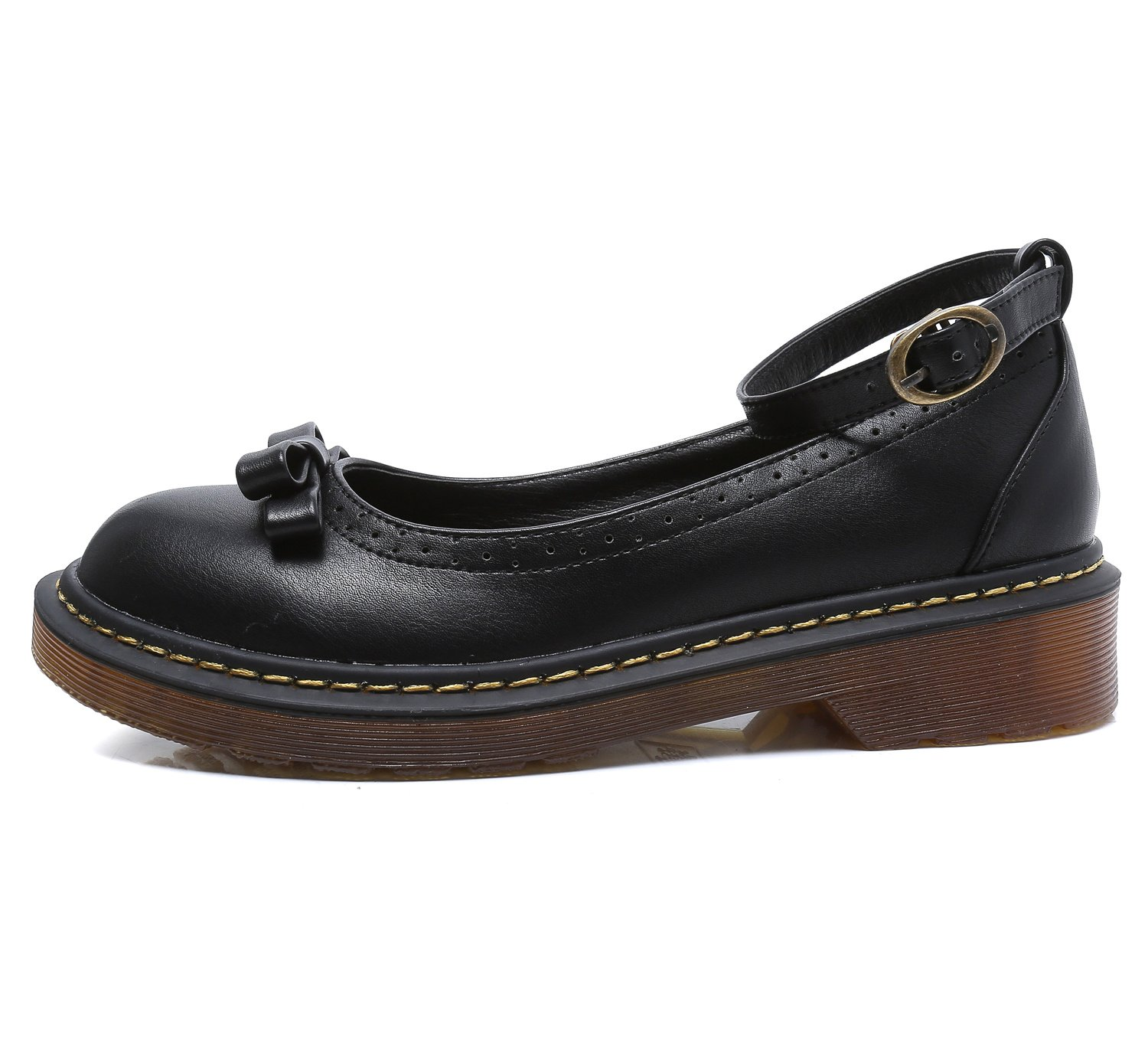Smilun Lady¡¯s Boat Deck Shoes Dress Formal Driving Shoes Leather for Lady Round Toe Black Size 8 B(M) US by Smilun (Image #2)
