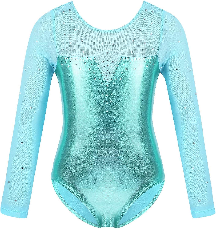 iiniim Kids Girls Sparkly Long Sleeve Gymnastic Leotards for Ballet Dance Basic One Piece Bodysuit Dance Costume