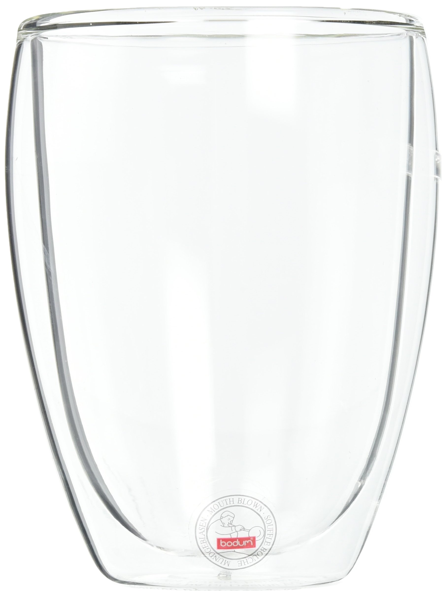 Bodum Pavina Coffee Mug, Double-Wall Insulated Glass Mug, Clear, 12 oz Each (Pack of 6)