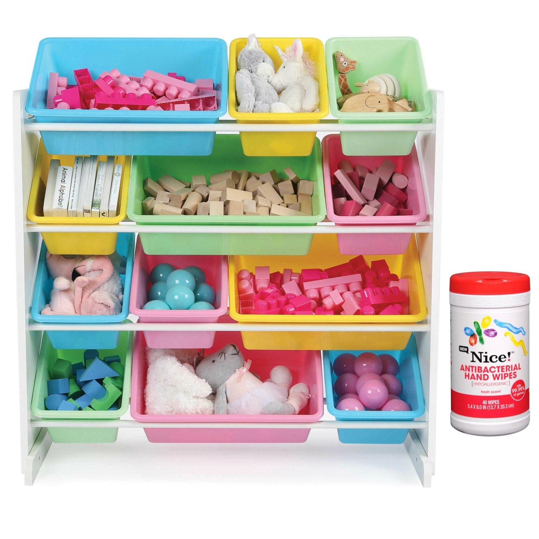 Tot Tutors Kids 12 Plastic Bin Toy Storage Organizer in Pastel with Antibacterial Hand Wipes