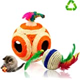 Pet Supplies Cat Toy Cat Scratcher Big Six Holes Sisal Rope Ball Interactive Toy Cat Toy Colors may vary HUHUBA
