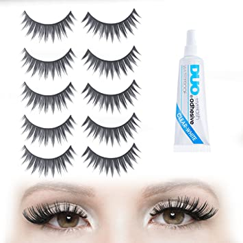 e9136a40149 Amazon.com : EXAGGERATE DRAMATIC FALSE EYELASHES: Long and Short Black Fake  Eyelashes in a 5 Pair Set with Duo Clear Glue - Strip Falsies for Your  Ultimate ...