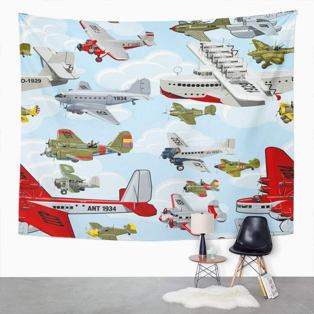 Houlor Airplane Tapestry Cartoon Retro Airplanes 1930S Clouds Wall Hanging Art Print Home Polyester Decoration Apartment Bedroom Living Room Dorm Decor 50x60 Inches