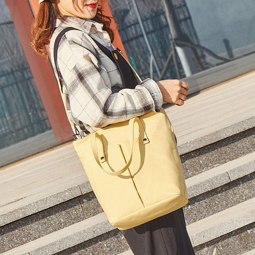 TIFENNY Fashion Handbags Student Girls Canvas Solid Color Multi-Pocket Shoulder Bag Messenger Bag Backpack
