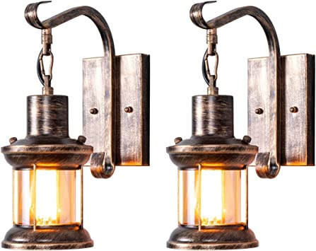 Rustic Wall Light Fixtures Oil Rubbed Bronze Finish Indoor Vintage Wall Light Wall Sconce Industrial Lamp Fixture Glass Shade Farmhouse Metal Sconces Wall Lights For Bedroom Living Room Cafe 2 Pack